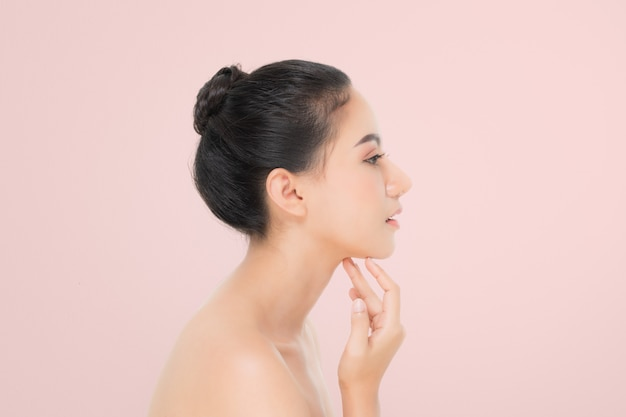 Beautiful woman portrait, side view, skin care or beauty concept