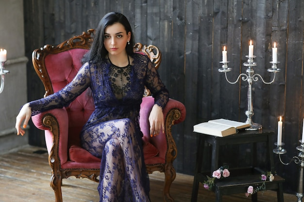 Beautiful woman posing at home