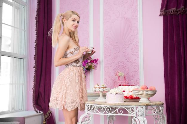 Beautiful woman preparing birthday party