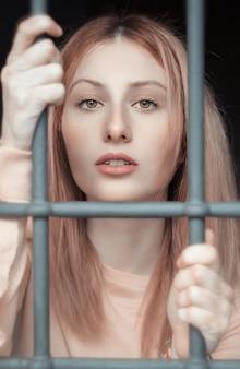 A beautiful woman in prison