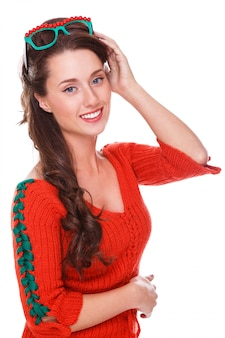 Beautiful woman in red sweater