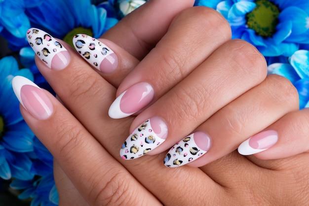 美しいフレンチマニキュアとアートデザインの美しい女性の爪
