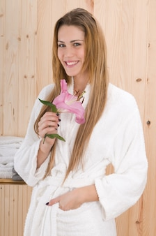Beautiful woman in sauna or spa