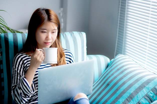 Beautiful woman sitting using credit card with laptop