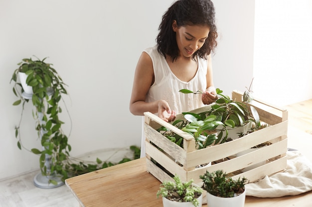 Beautiful woman smiling working with plants in box at workplace white wall.