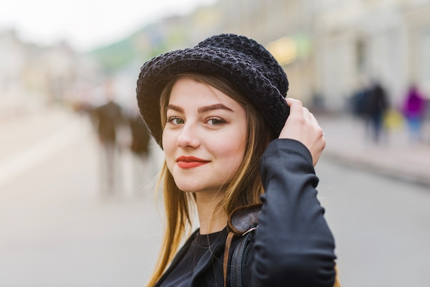 Beautiful woman on street