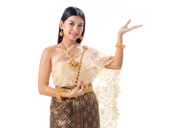 Beautiful woman thai dancing in national traditional costume of thailand