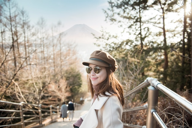 A beautiful woman tourist in japan