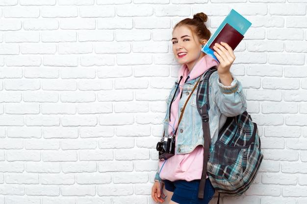 Beautiful woman traveler