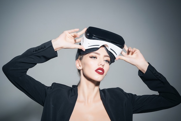 Beautiful woman using virtual reality attractive girl getting experience vr headset is using