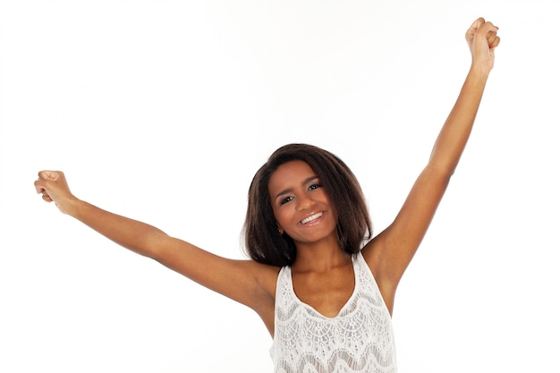 Beautiful woman waves her hands happily