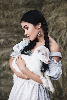 아기 염소와 아름 다운 여자