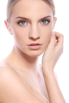 Beautiful woman with clean face isolated