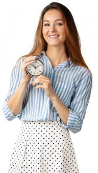 Beautiful woman with the clock