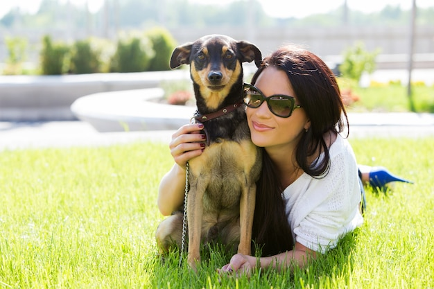 Beautiful woman with dog