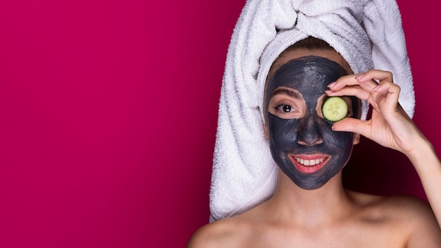 Beautiful woman with face mask on