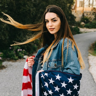 Beautiful woman with flag
