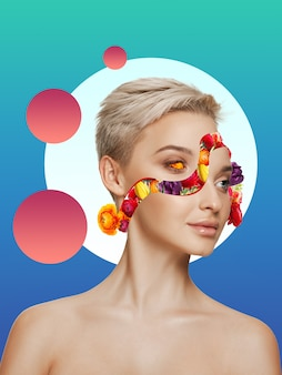Красивая женщина с цветочной маской на фоне градиента. негативное пространство для вставки текста. современный дизайн. современный красочный и концептуальный яркий художественный коллаж для рекламы. журнал в ретровейвном стиле.