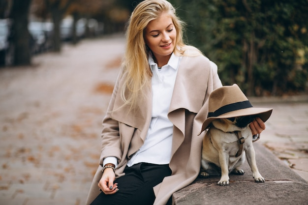 Beautiful woman with her dog