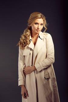 Beautiful woman with long blond hair in beige fur coat