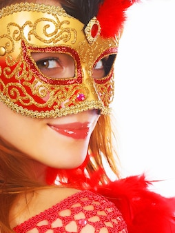 Beautiful woman with mask close up