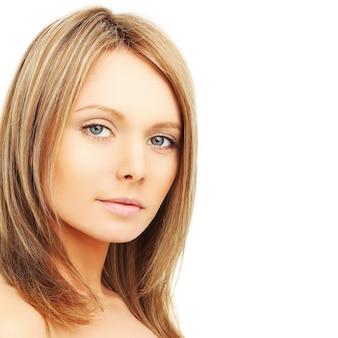 Beautiful woman with natural makeup, face close-up