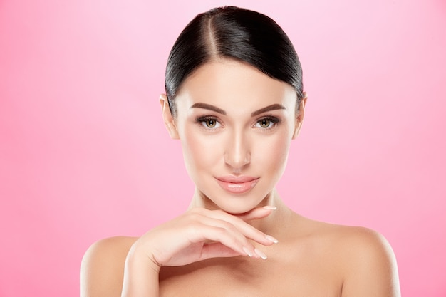 Beautiful woman with perfect skin posing, beauty and skin care concept
