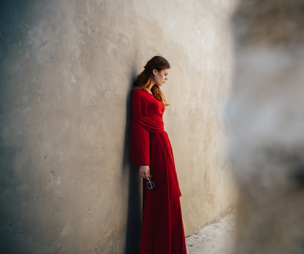 Beautiful woman with red dress