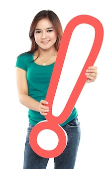 Beautiful woman with a sign exclamation mark