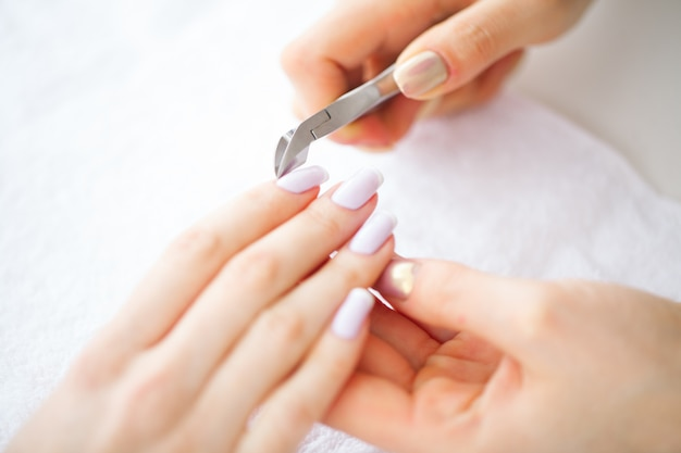 Beautiful women hands with perfect manicure,