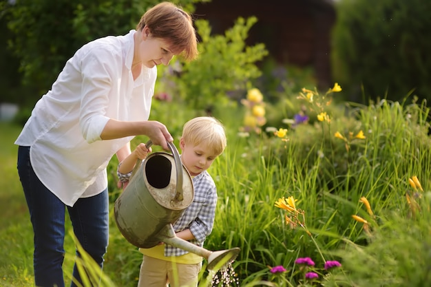 Beautiful women and her cute grandson watering plants in the garden at summer sunny day.