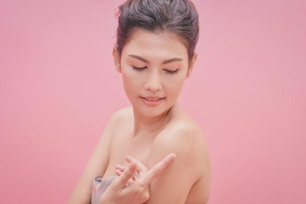 Beautiful women keep healthy. beautiful women take care of skin health.