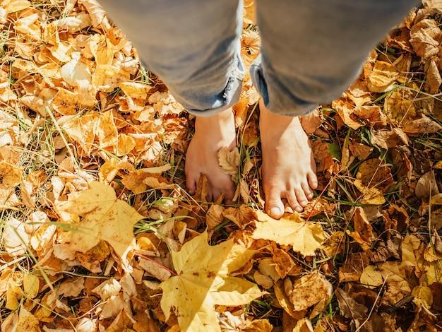 Красивые женские ноги босиком на осенних желтых листьях