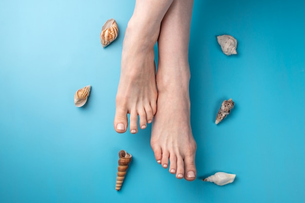 Beautiful women's feet with beige nail polish on a blue background with seashells