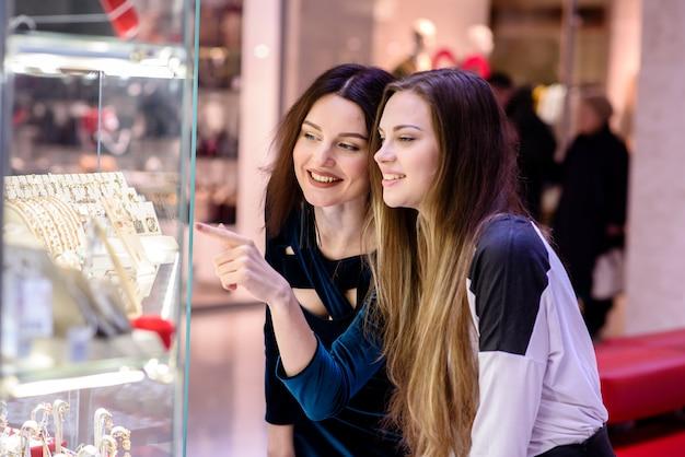 Beautiful women shopping at the mall
