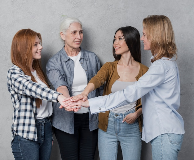 Beautiful women support each other