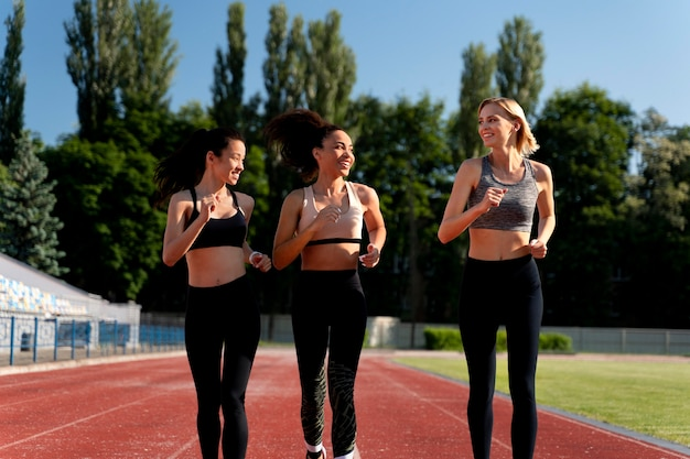 Beautiful women training for a running competition