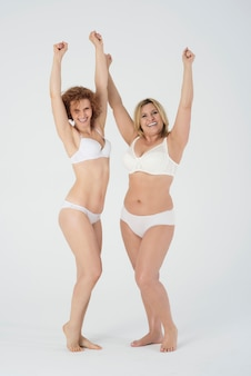 Beautiful women wearing lingerie and feeling comfortable