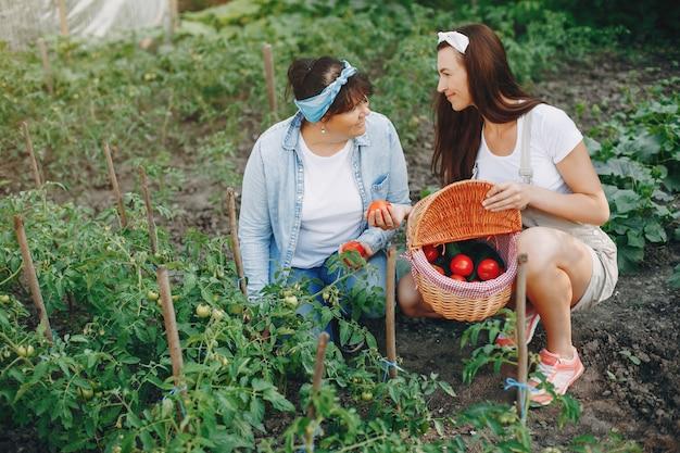 Beautiful women works in a garden