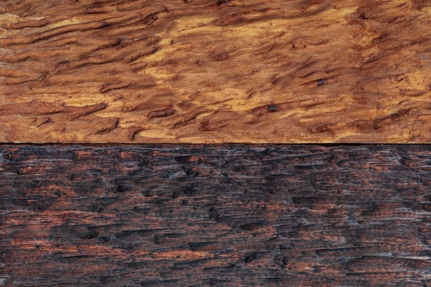 Beautiful wood background combined in light and dark tones (ocher, brown, tan, golden and black). with a rustic appearance, veins and knots can be seen.