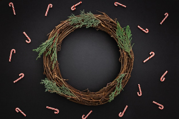Beautiful wooden christmas wreath