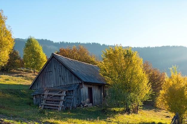 Красивый деревянный дом в осенний пик сезона в горах