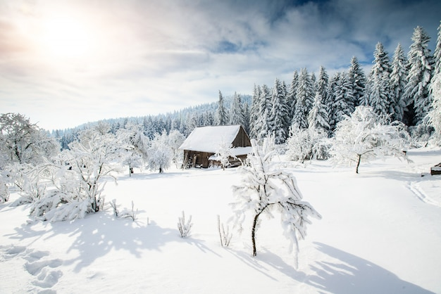 Beautiful wooden house in a winter