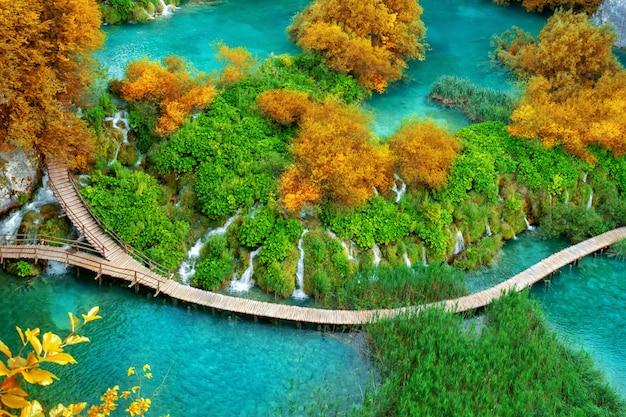 크로아티아의 플리트 비체 호수에서 아름 다운 나무 경로