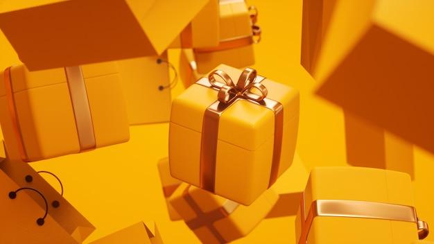 Красивый желтый подарок в золотой ленте красивый фон 3d-рендеринга