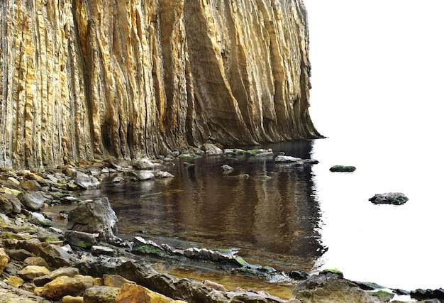 美しい黄色い岩の海岸