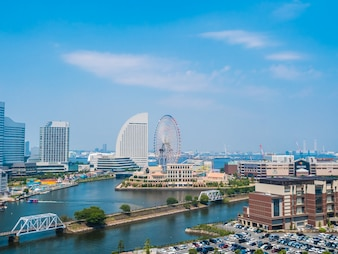 Beautiful Yokohama skyline city in japan