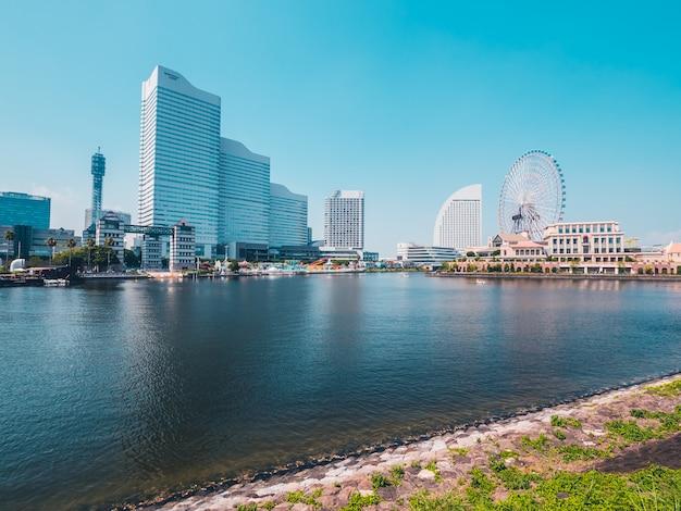 일본의 아름다운 요코하마 스카이 라인 도시