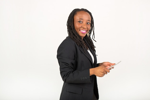 Beautiful young african woman in a suit