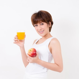 Beautiful young asia woman with healthy food